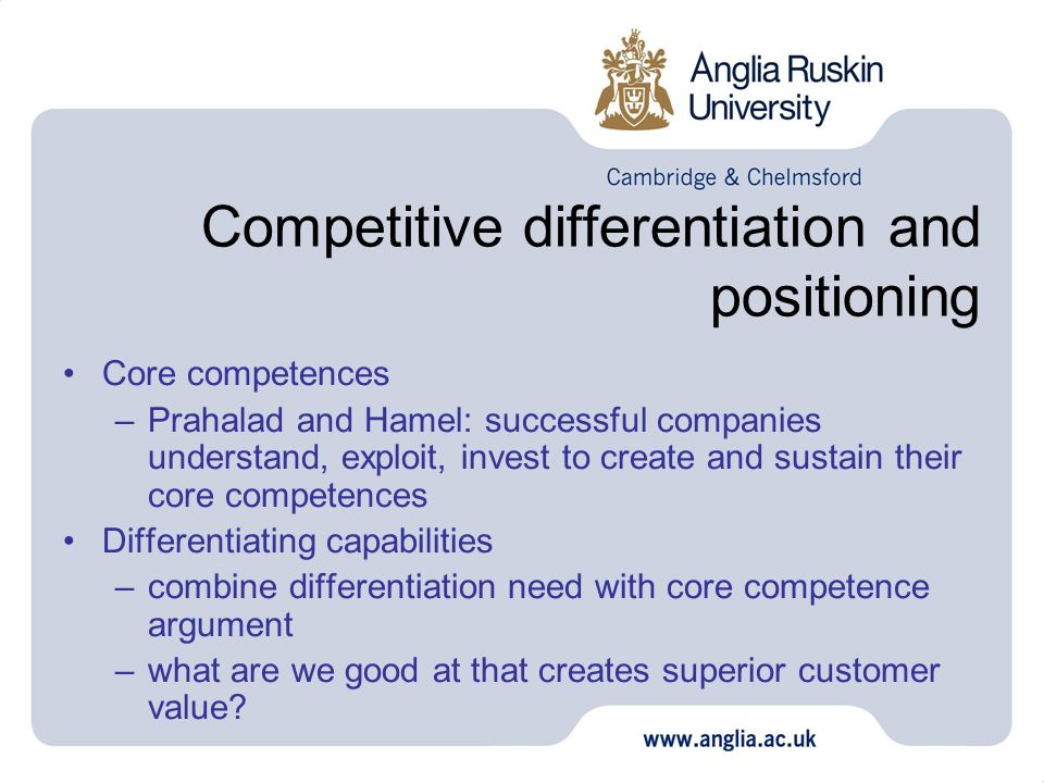 Competitive differentiation and positioning