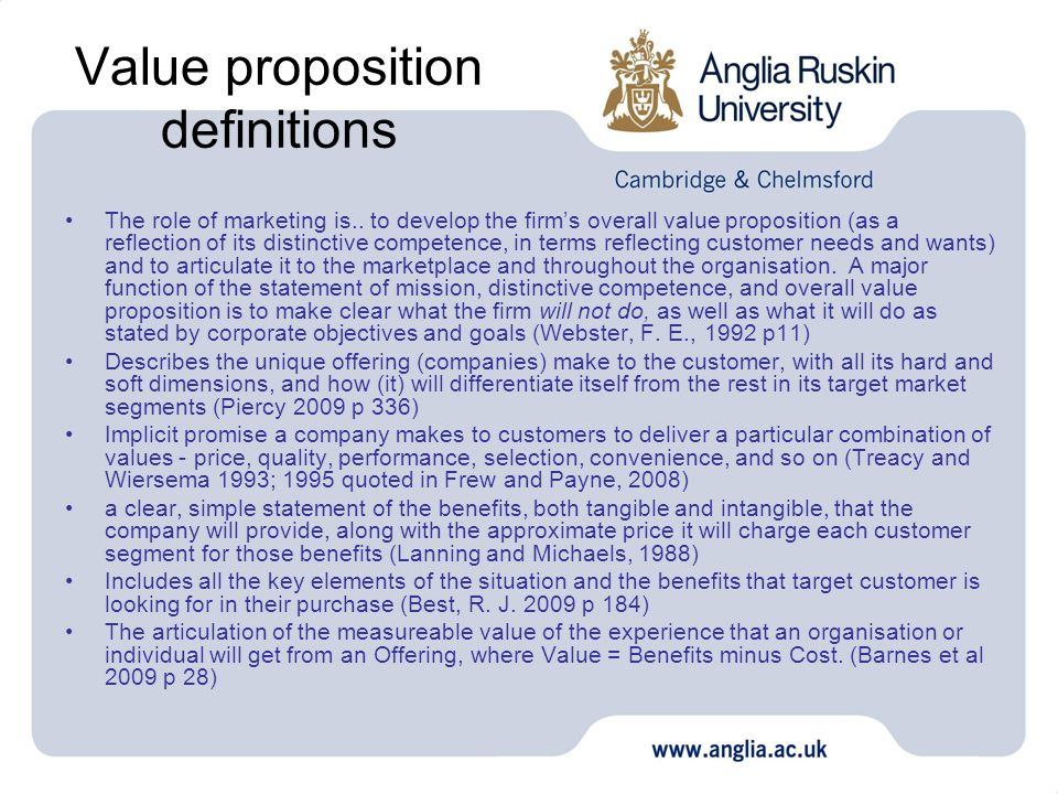 Value proposition definitions