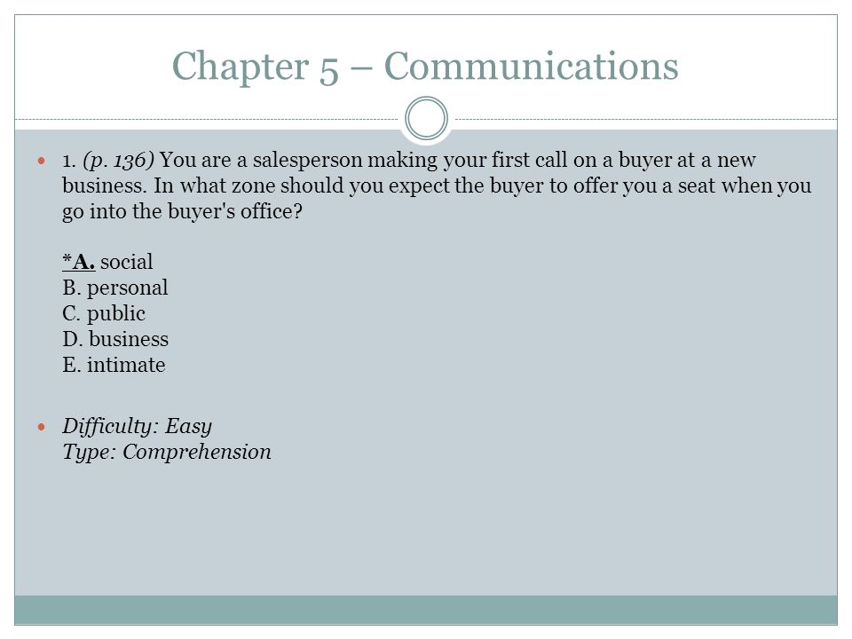 Chapter 5 – Communications