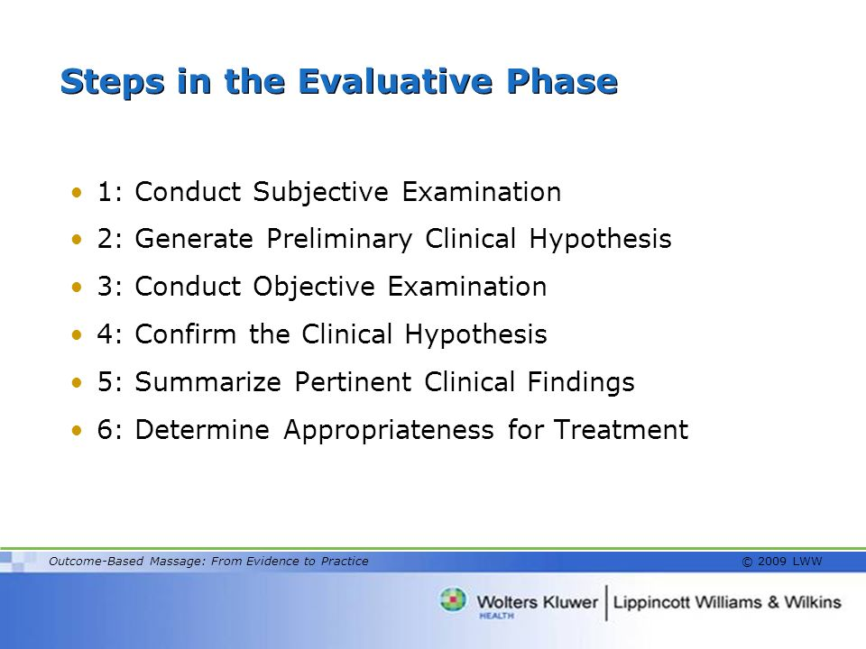 Steps in the Evaluative Phase