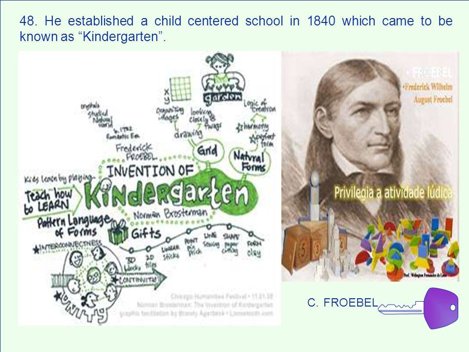 48. He established a child centered school in 1840 which came to be known as Kindergarten .