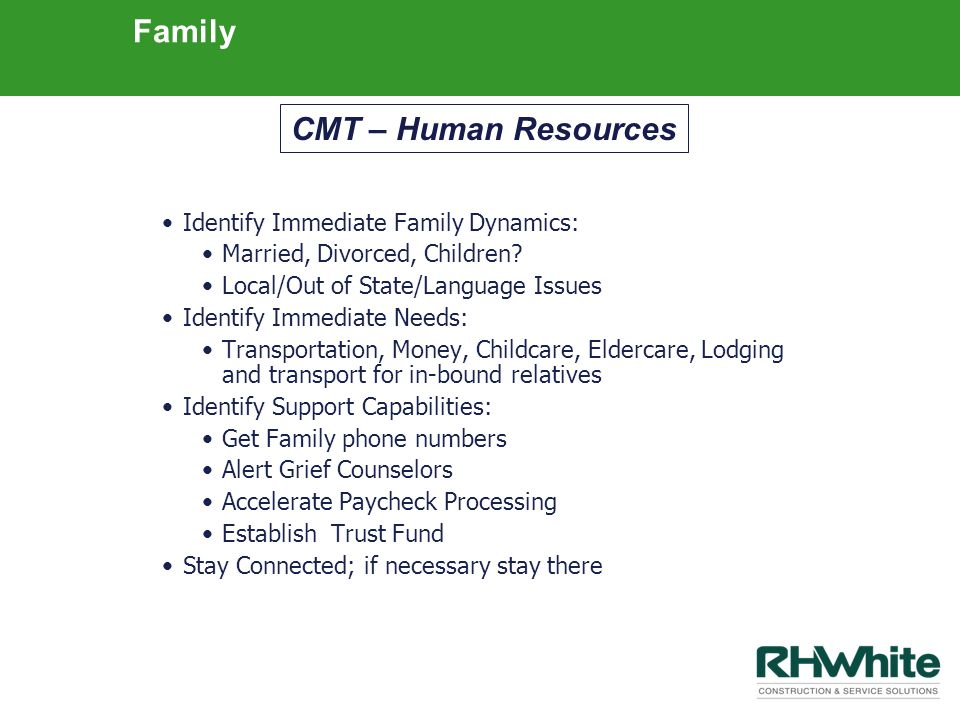 Family CMT – Human Resources Identify Immediate Family Dynamics: