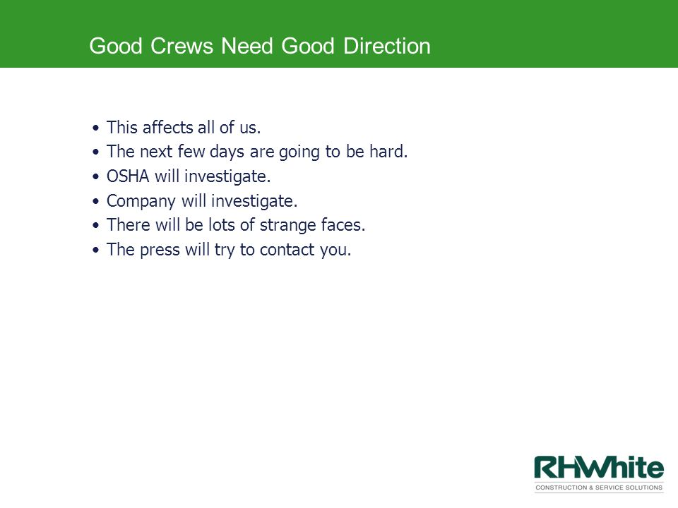 Good Crews Need Good Direction