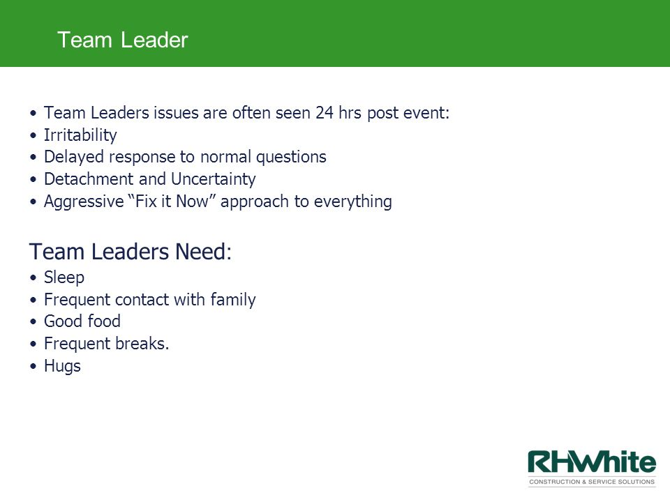 Team Leader Team Leaders Need: