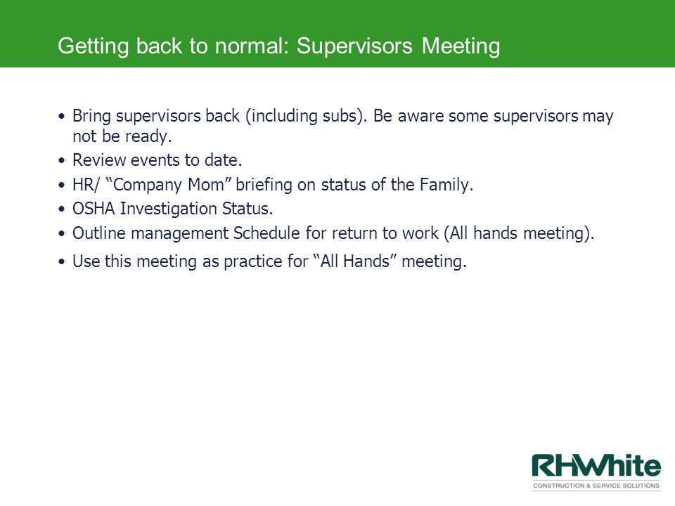 Getting back to normal: Supervisors Meeting