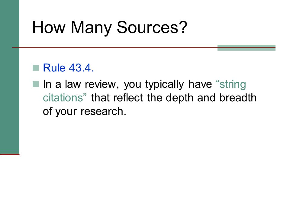 How Many Sources. Rule