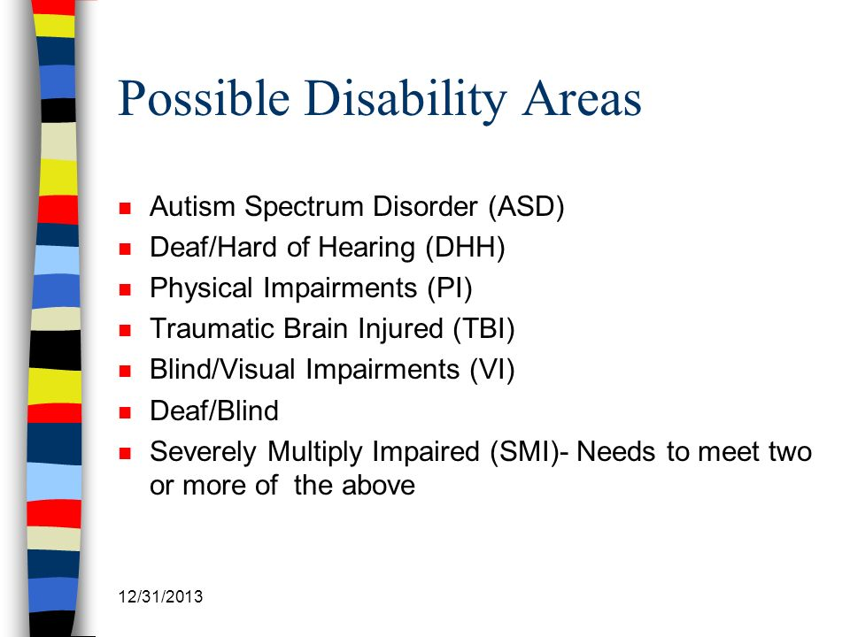 Possible Disability Areas