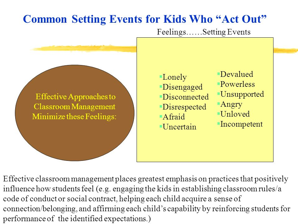 Effective Approaches to Classroom Management Minimize these Feelings:
