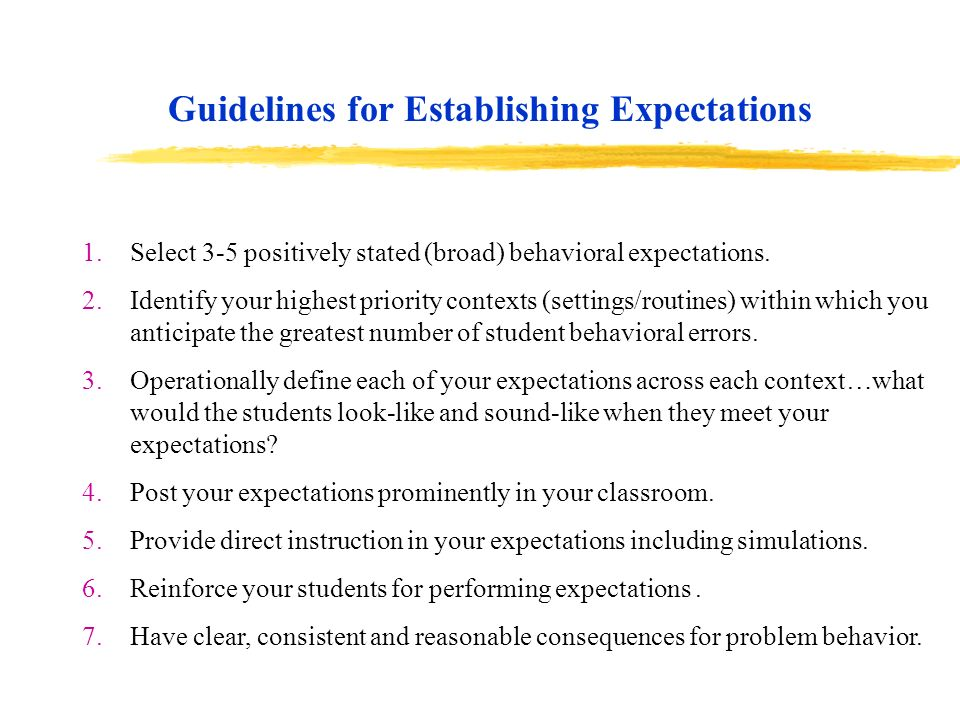 Guidelines for Establishing Expectations