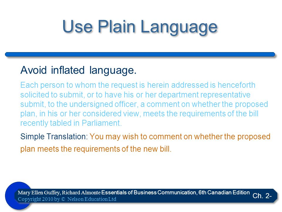 Use Plain Language Avoid inflated language.