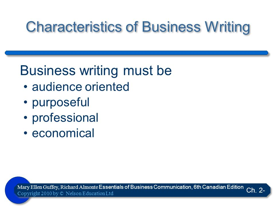 Characteristics of Business Writing