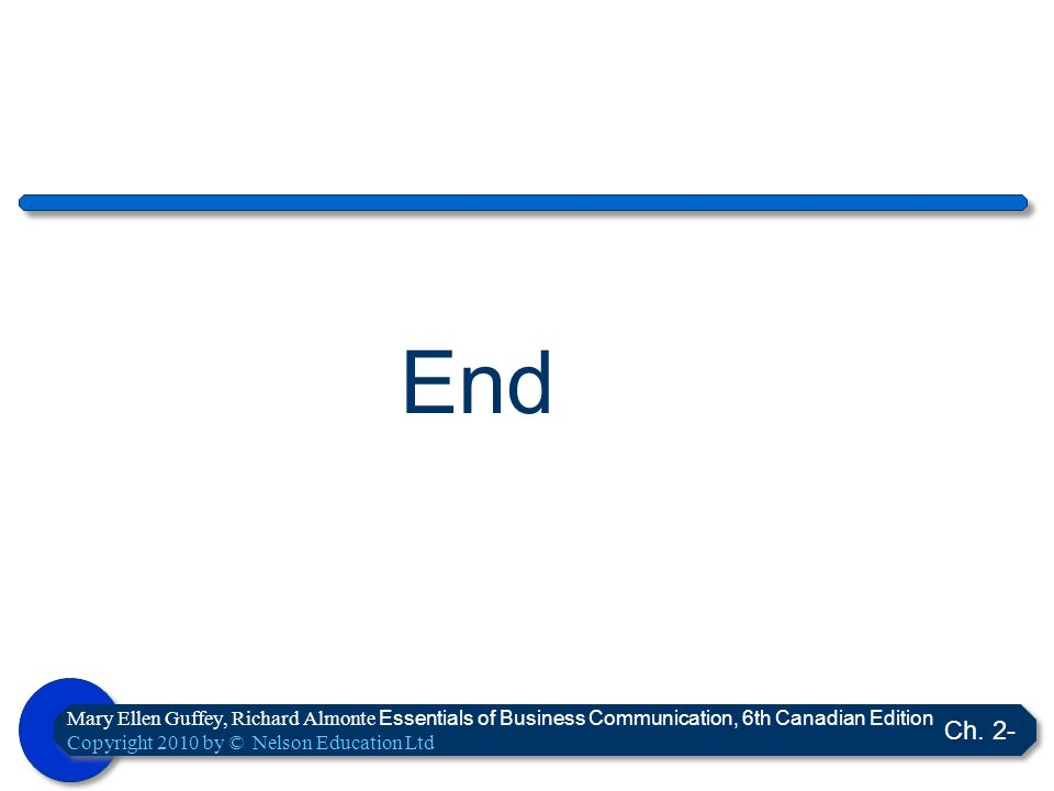 End Mary Ellen Guffey, Richard Almonte Essentials of Business Communication, 6th Canadian Edition. Copyright 2010 by © Nelson Education Ltd.