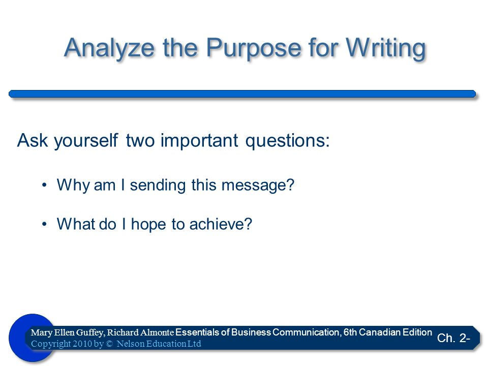 Analyze the Purpose for Writing