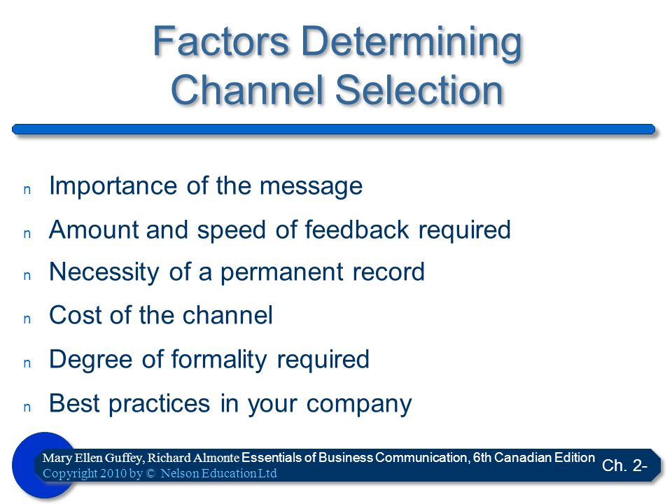 Factors Determining Channel Selection