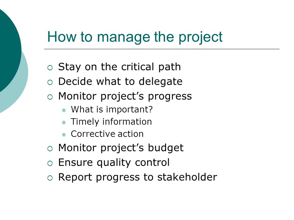 How to manage the project