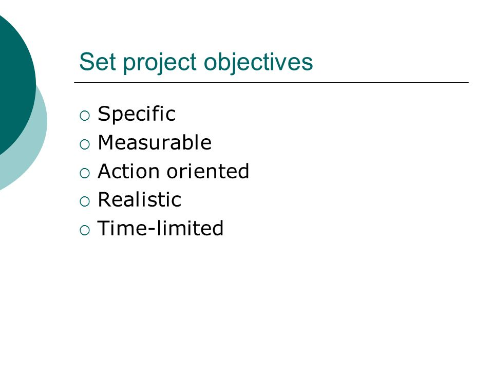 Set project objectives