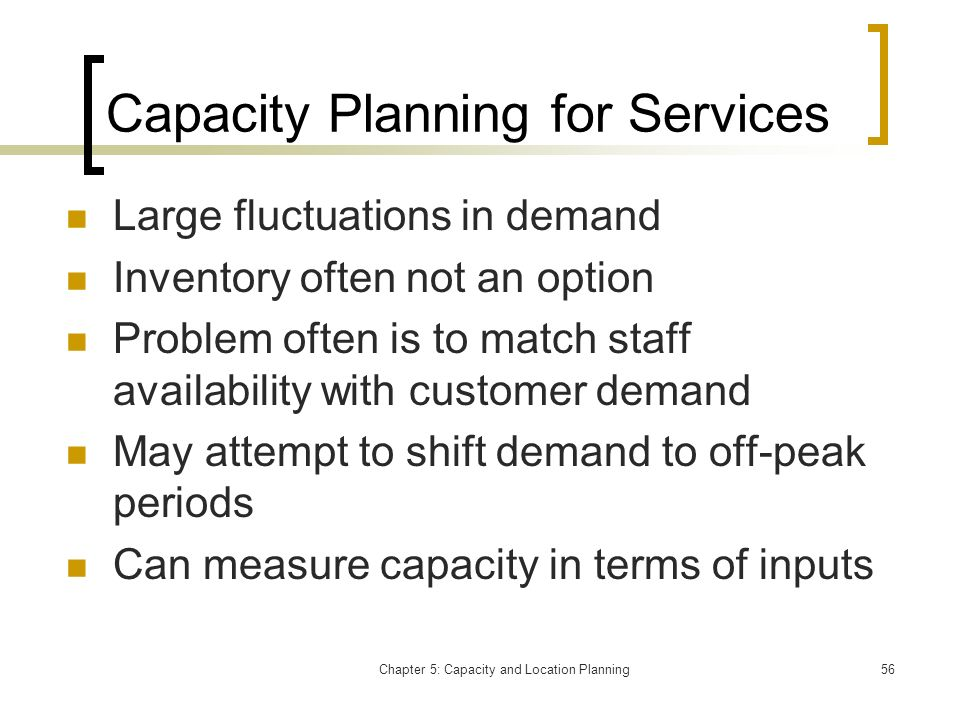 Capacity Planning for Services