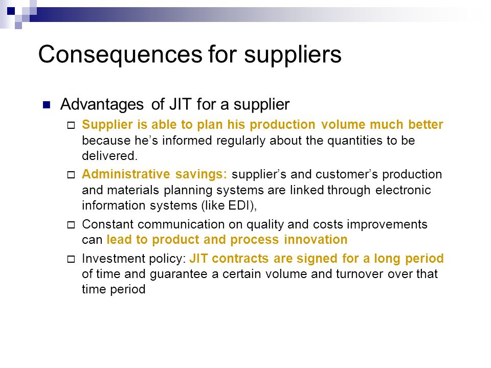 Consequences for suppliers