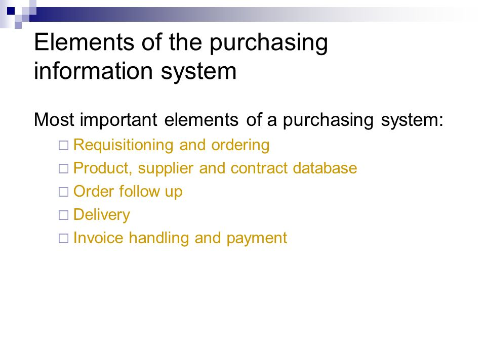Elements of the purchasing information system