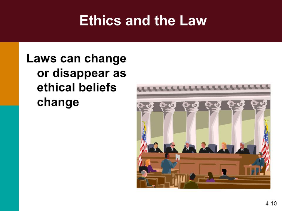 Ethics and the Law Laws can change or disappear as ethical beliefs change