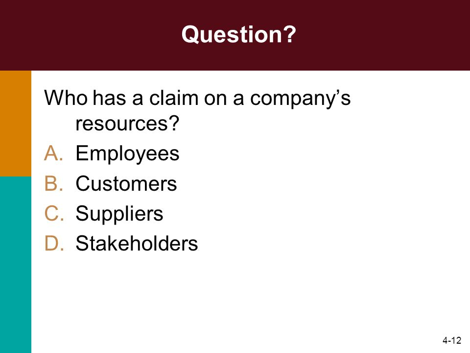 Question Who has a claim on a company's resources Employees