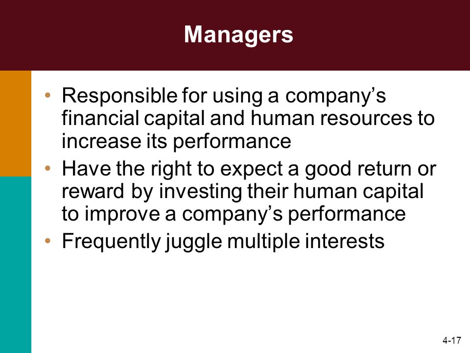 Managers Responsible for using a company's financial capital and human resources to increase its performance.