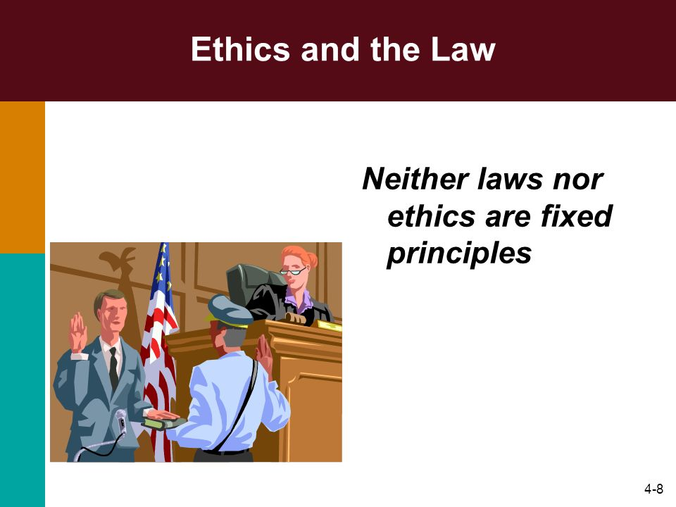 Ethics and the Law Neither laws nor ethics are fixed principles
