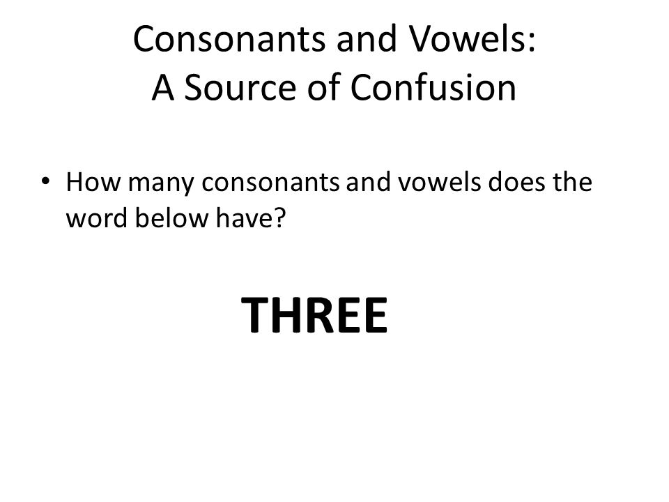 Consonants and Vowels: A Source of Confusion