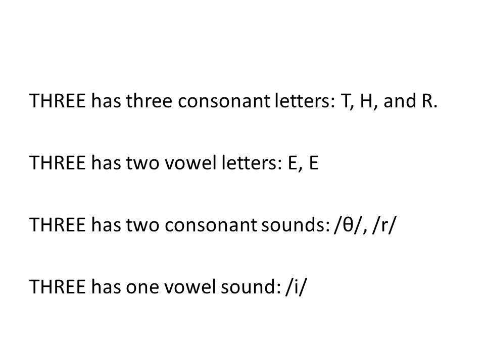 THREE has three consonant letters: T, H, and R.