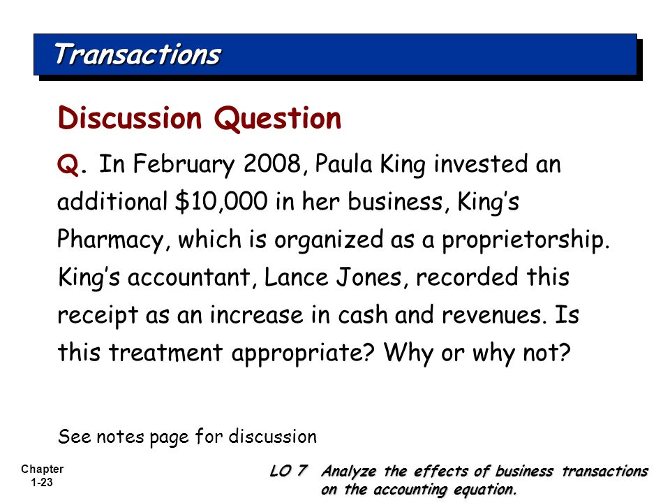 Discussion Question Transactions