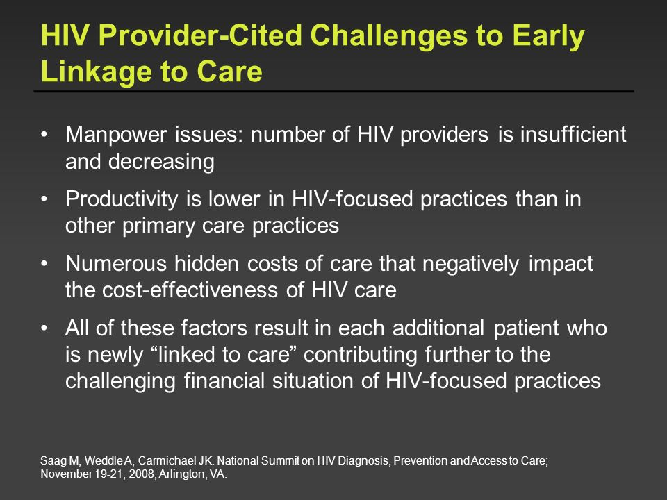 HIV Provider-Cited Challenges to Early Linkage to Care
