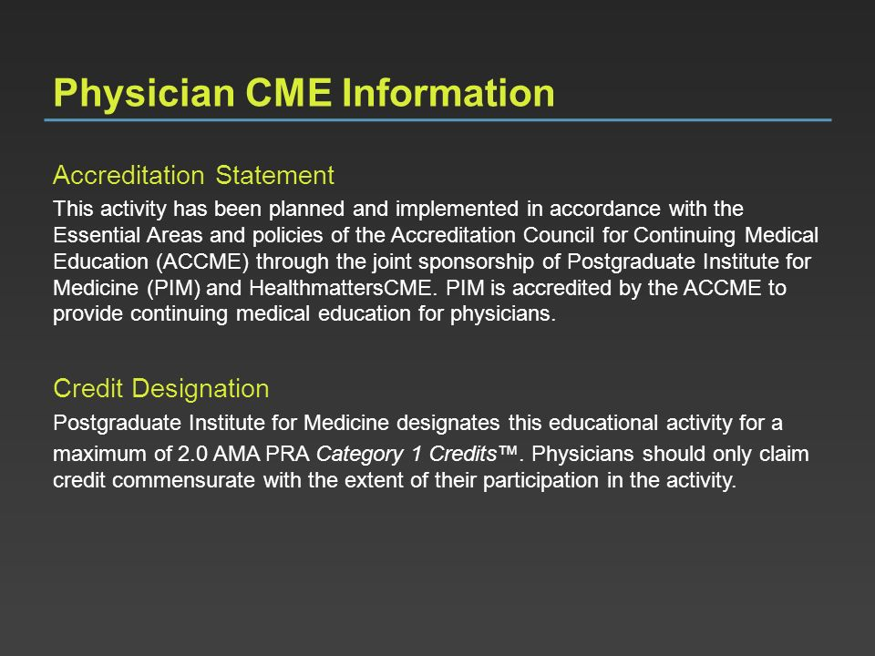 Physician CME Information