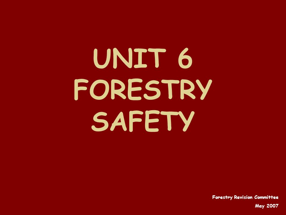 UNIT 6 FORESTRY SAFETY Forestry Revision Committee May 2007