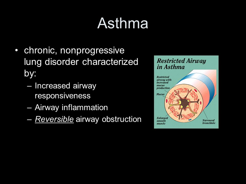 Asthma chronic, nonprogressive lung disorder characterized by: