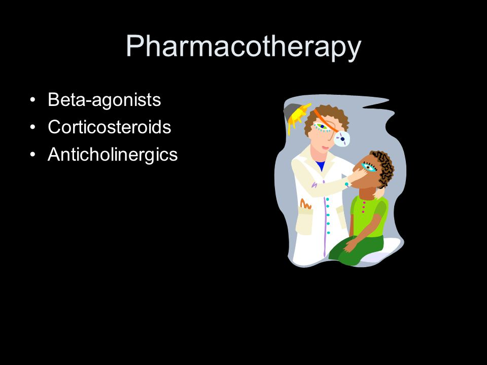 Pharmacotherapy Beta-agonists Corticosteroids Anticholinergics