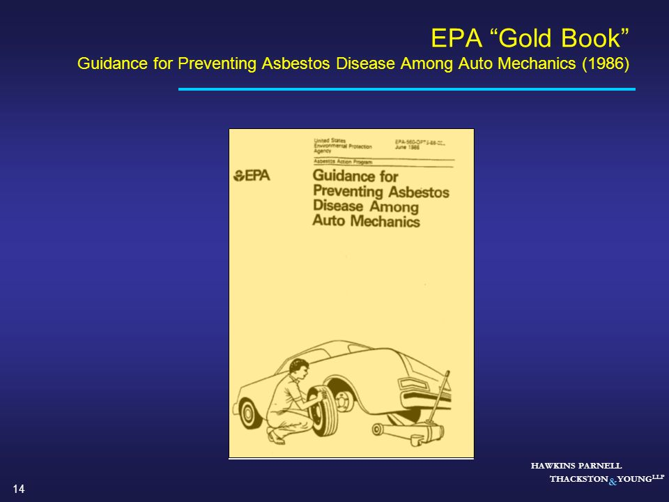 EPA Gold Book Guidance for Preventing Asbestos Disease Among Auto Mechanics (1986)