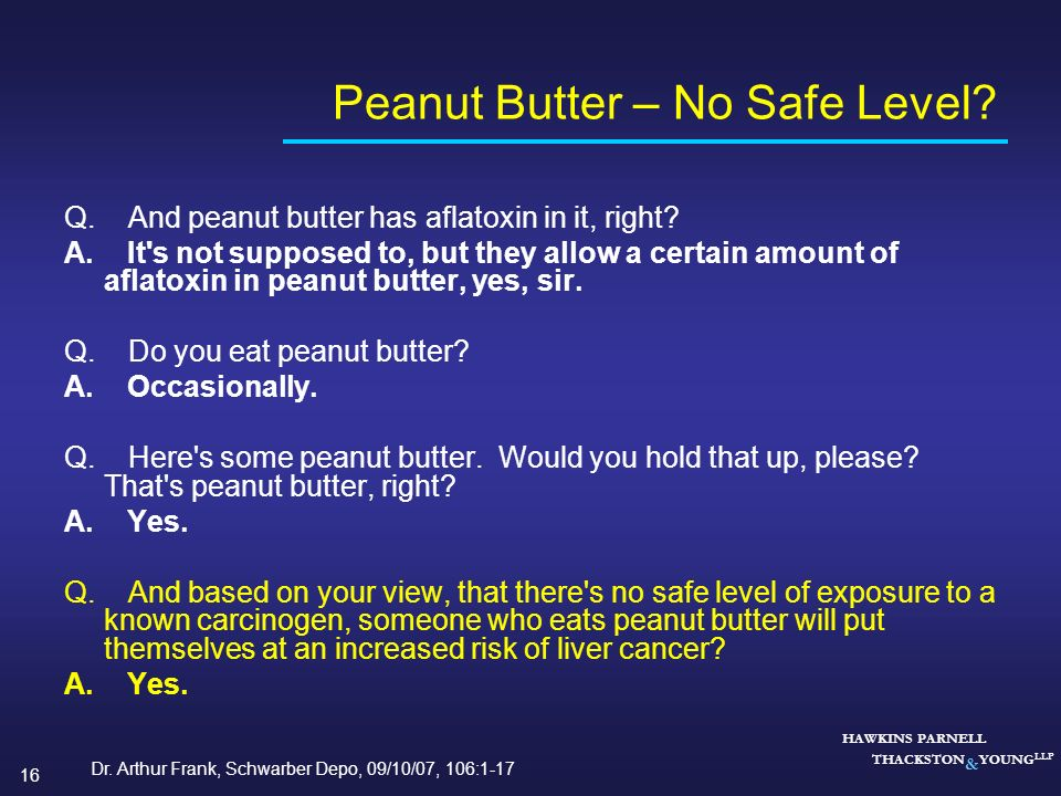 Peanut Butter – No Safe Level