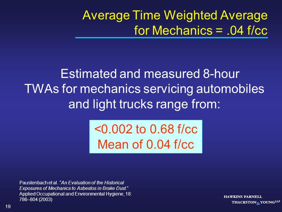 Average Time Weighted Average for Mechanics = .04 f/cc