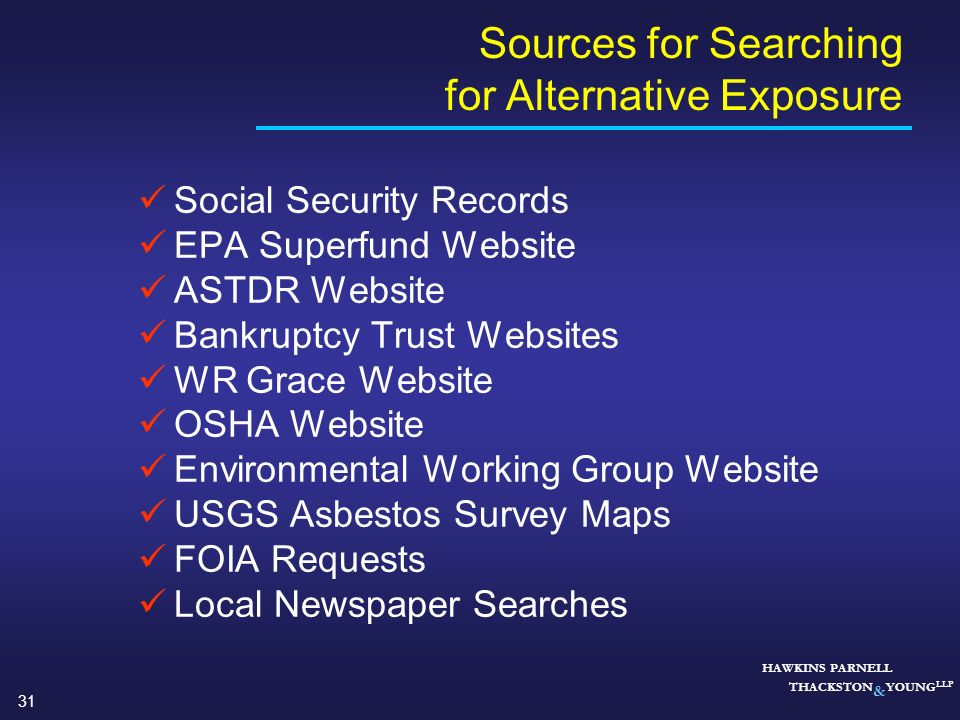 Sources for Searching for Alternative Exposure