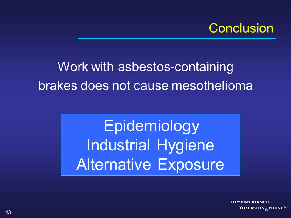 Industrial Hygiene Alternative Exposure Conclusion