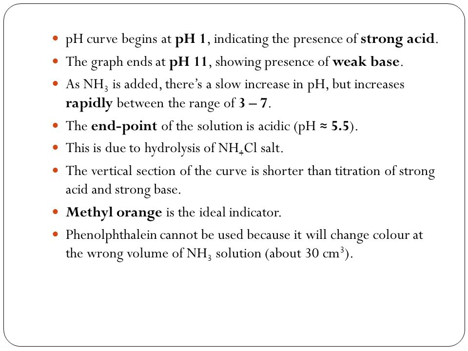 pH curve begins at pH 1, indicating the presence of strong acid.