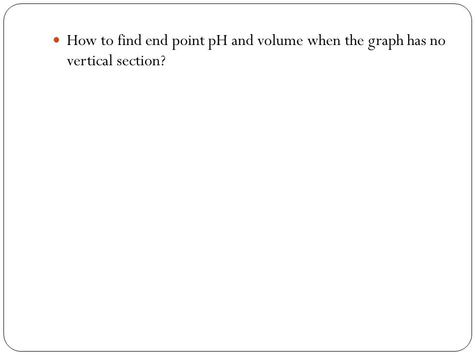 How to find end point pH and volume when the graph has no vertical section