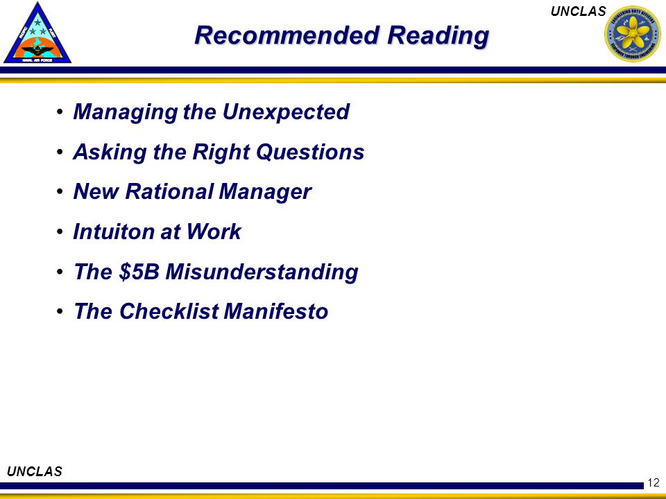 Recommended Reading Managing the Unexpected Asking the Right Questions