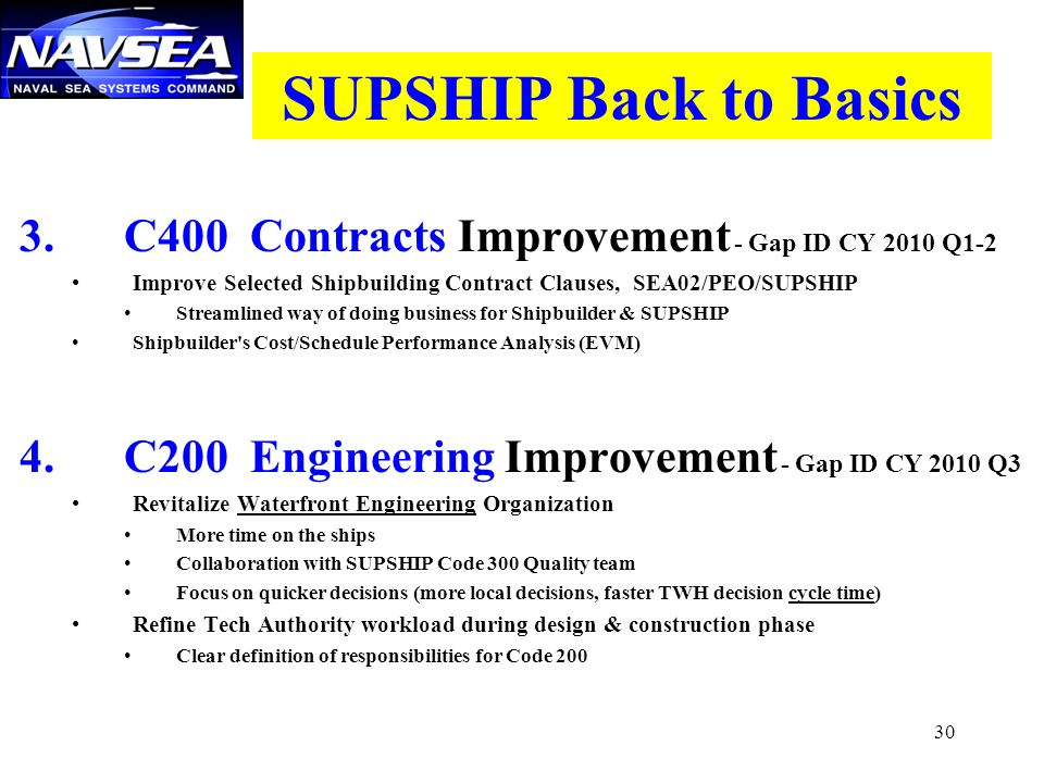 SUPSHIP Back to Basics 3. C400 Contracts Improvement - Gap ID CY 2010 Q1-2. Improve Selected Shipbuilding Contract Clauses, SEA02/PEO/SUPSHIP.