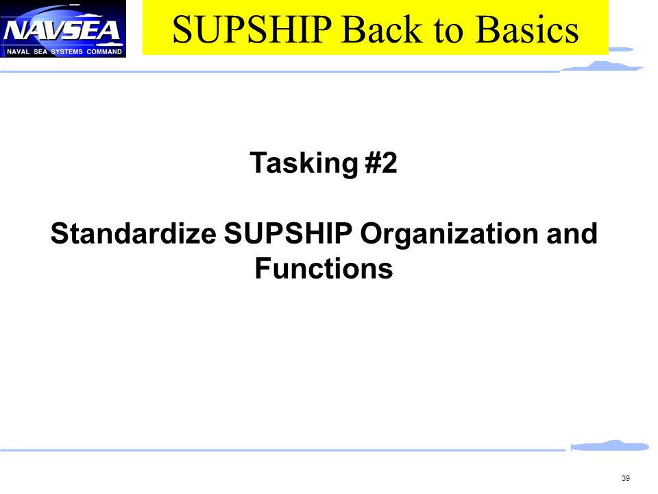 Standardize SUPSHIP Organization and Functions