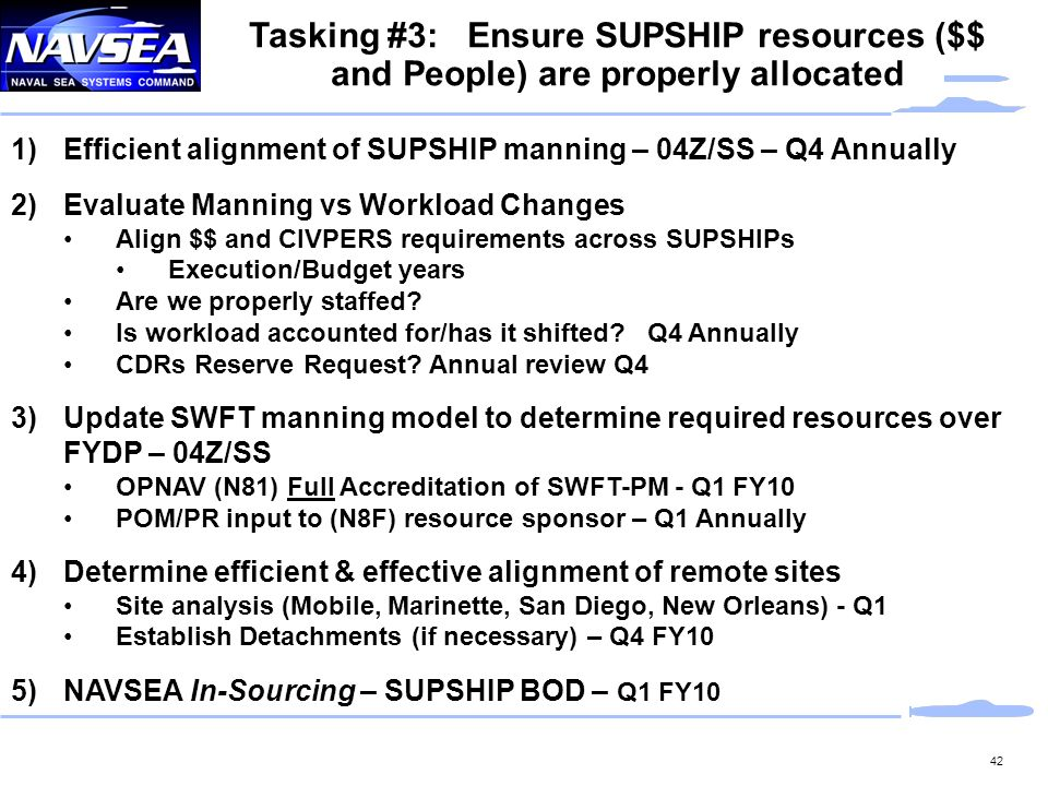 Tasking #3: Ensure SUPSHIP resources ($$ and People) are properly allocated
