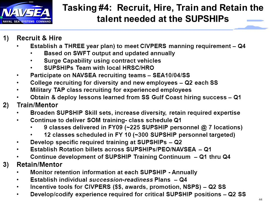Tasking #4: Recruit, Hire, Train and Retain the talent needed at the SUPSHIPs