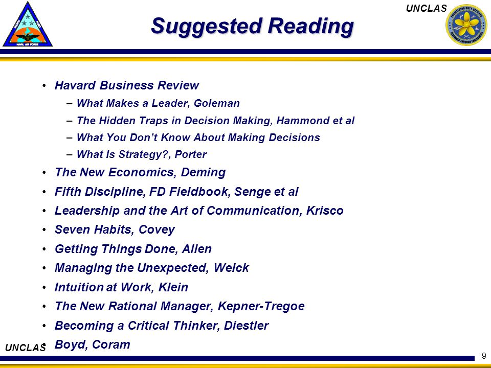 Suggested Reading Havard Business Review The New Economics, Deming