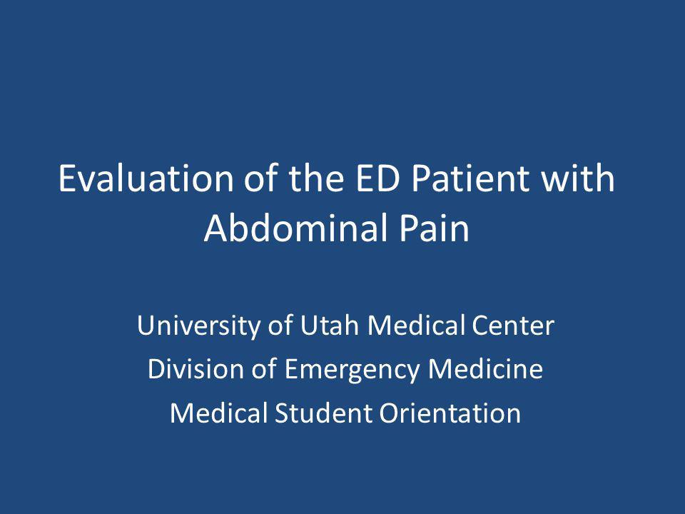 Evaluation of the ED Patient with Abdominal Pain