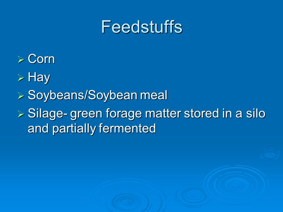 Feedstuffs Corn Hay Soybeans/Soybean meal